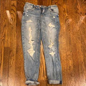 garage light washed girlfriend jeans